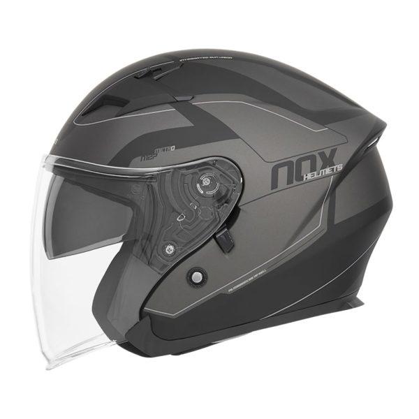 casque de moto Nox n127 METRO jet noir mat argent