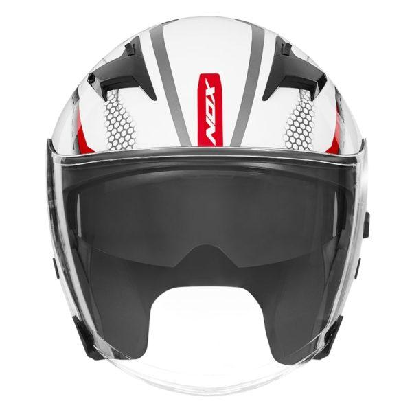 casque de moto Nox n127 STRAP jet blanc