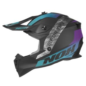 casque de moto Nox n633 ONYX cross bleu - violet