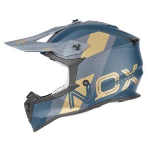 casque de moto Nox n633 VIPER cross bleu paon - or