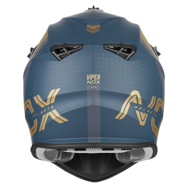 casque de moto Nox n633 VIPER cross bleu paon - or