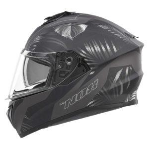 casque de moto Nox n918 JUNGLE intégral argent mat