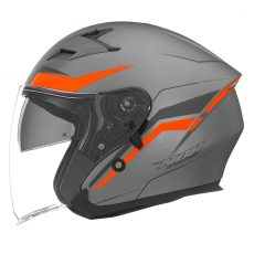 Nox motorcycle helmet n127 late jet matt titanium and orange neon