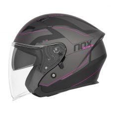 casque de moto Nox n127 METRO jet noir mat rose