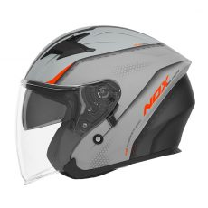 casque de moto Nox n127 STRAP jet gris nardo - orange