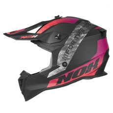casque de moto Nox n633 ONYX cross violet - rose