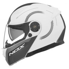 Nox motorcycle helmet modular n965 peak matt white
