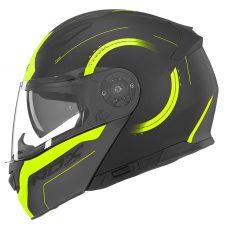 Casque de moto Nox n965 peak modulable noir mat et jaune fluo